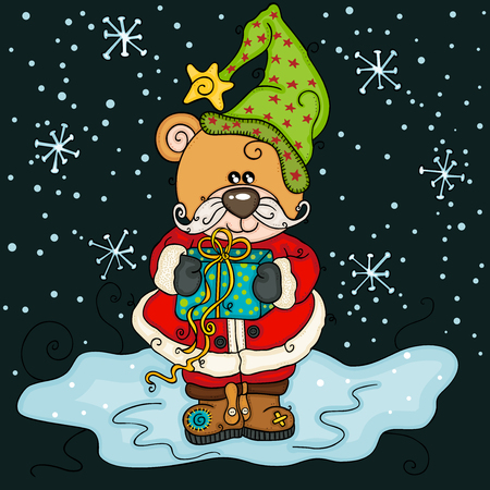 Christmas teddy bear with gift on night background