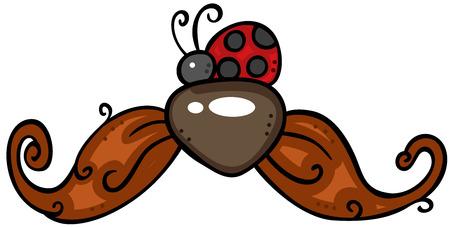 Ladybug on mustache Ilustracja