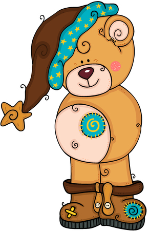 Cute teddy bear with brown hat and boots
