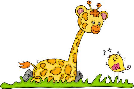 Cute giraffe sitting with little bird singing Illustration