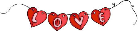 Hanging flag banner garlands heart shaped love Çizim