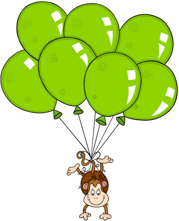 Monkey flying with green balloons