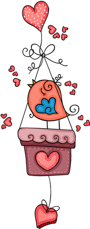 Cute bird on basket with heart