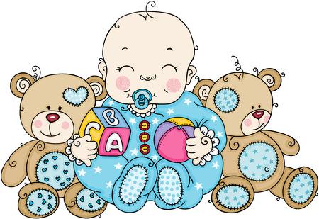 Cute baby boy with teddy bears