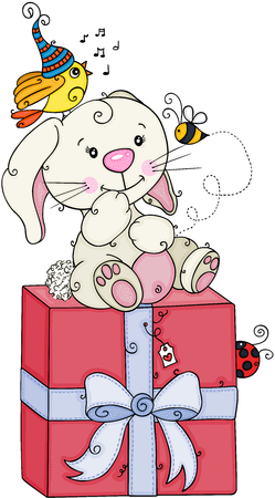 Cute bunny sitting on big gift with bird singing and bee Illustration