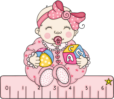 Baby girl with a pink ruler