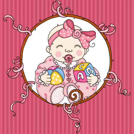 Cute baby girl background  イラスト・ベクター素材