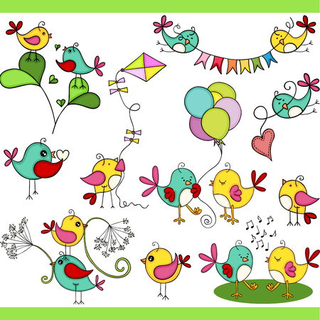 Two cute birds in different positions set digital elements Illustration