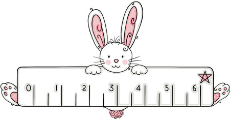 Cute white bunny with ruler