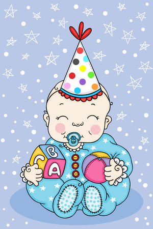 Illustration of baby boy with party hat