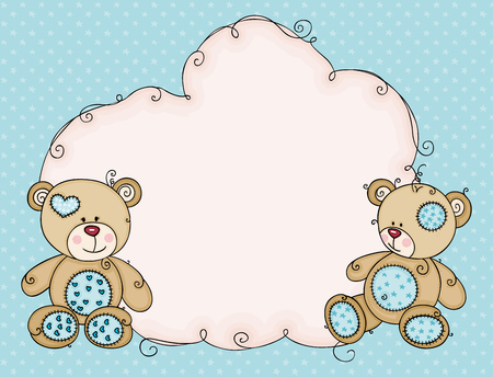 Greeting blue card with teddies and cloud blank label