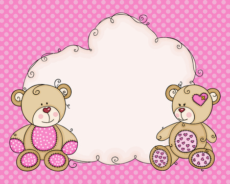 Greeting pink card with teddies and cloud blank label