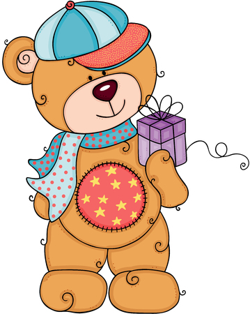 Teddy bear with cap and scarf holding a little gift Illusztráció
