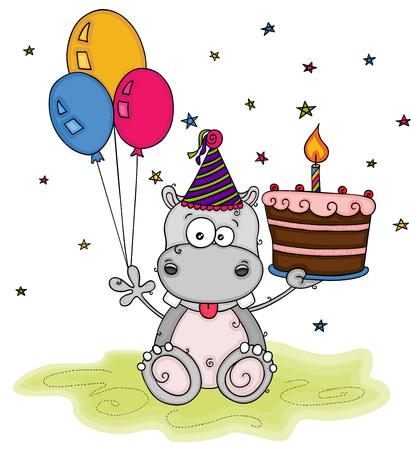 Cute happy birthday with hippo holding three balloons and a cake Ilustração