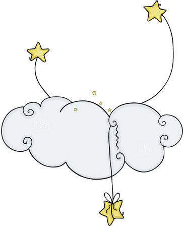 Decorative element with stars and cloud