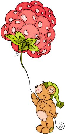 Teddy bear with green hat holding a big raspberry balloon
