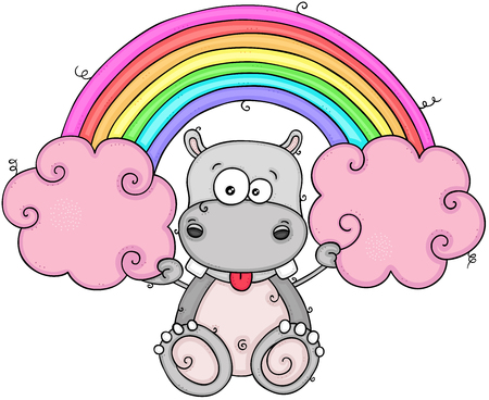Funny hippo holding a pink clouds and rainbow