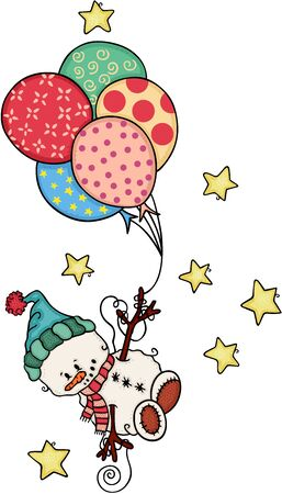 Cute snowman holding balloons and flying on stars