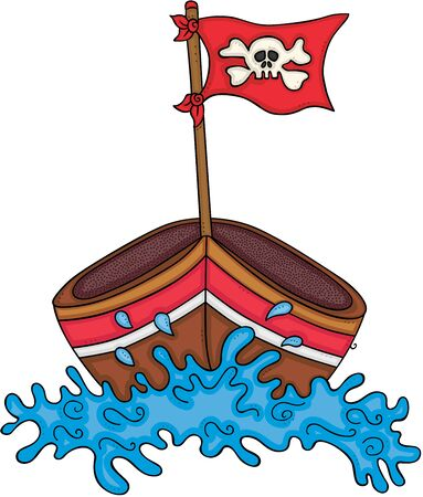 Wooden small boat with skull flag