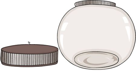 Empty round glass transparent jar open Stockfoto - 130120950