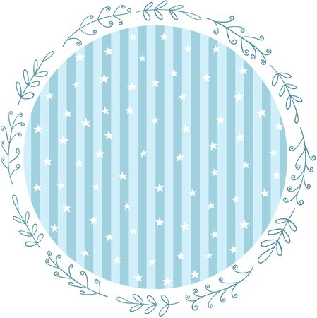 Baby blue party round sticker with stars