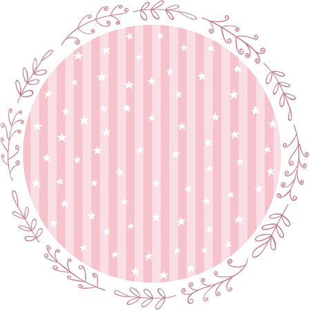 Baby pink party round sticker with stars