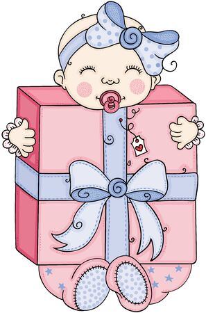 Cute baby girl holding a big gift box