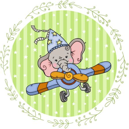 Round vintage label with little elephant flying an airplane Ilustração