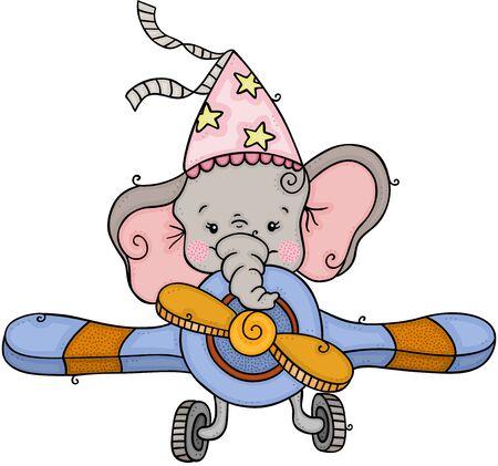 Elefante con gorro de fiesta volando un avión