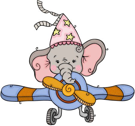 Little elephant with party hat flying an airplane