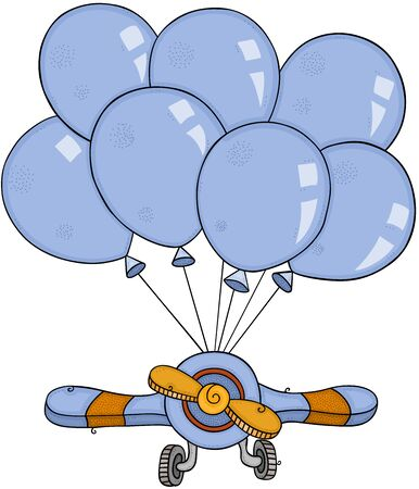 Small airplane flying with set blue balloons Ilustração
