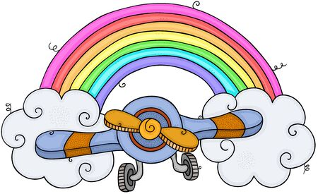 Airplane with rainbow and clouds