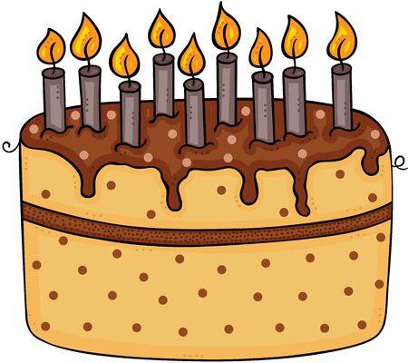 Birthday cake with nine candles