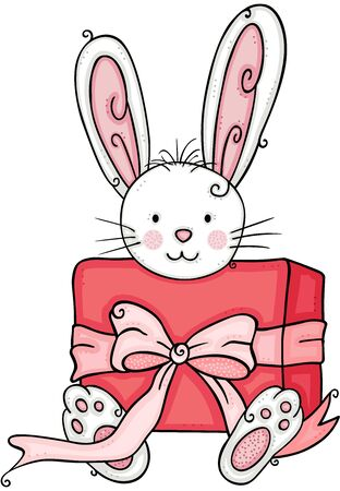 Cute bunny with a red gift box with ribbon bow