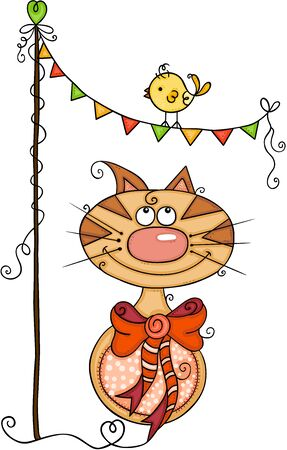 Cute cat and bird with bunting banner party