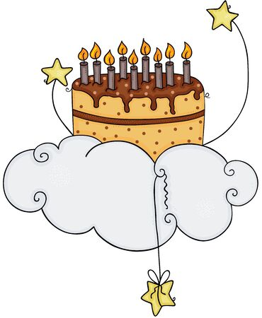 Birthday cake flying on sky with cloud and stars