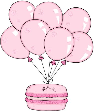 Pink macaroon flying with balloons