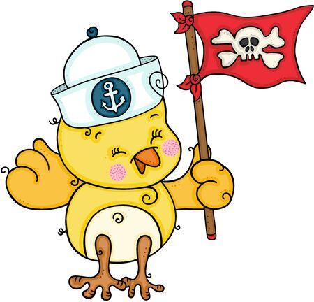 Cute sailor yellow bird holding a pirate flag