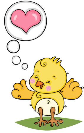 Cute yellow bird and thought bubble with heart Ilustração