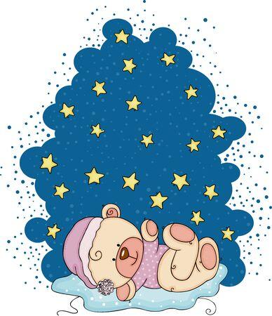 Night stars illustration with teddy bear sleeping Stock Illustratie