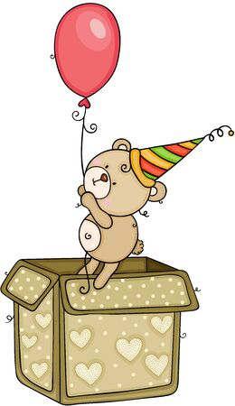 Teddy bear going out of box holding a balloon Çizim