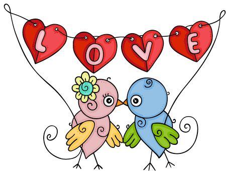 Couple birds holding a love banner garlands heart shaped