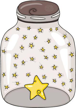 Glass transparent jar full of stars