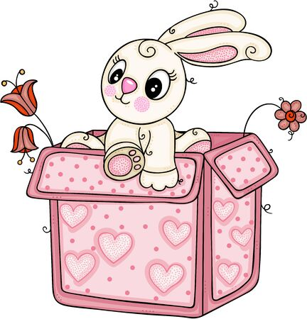 Cute bunny going out of the box