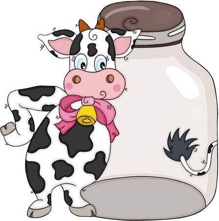 Funny cow with glass transparent jar Ilustracja