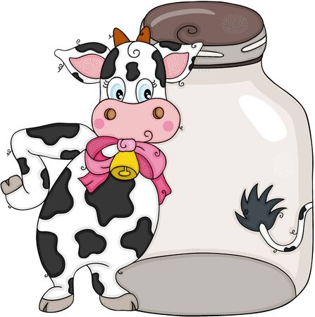 Lustige Kuh mit transparentem Glas Vektorgrafik