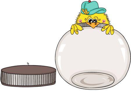 Yellow bird peeking empty round glass transparent jar open Ilustracja