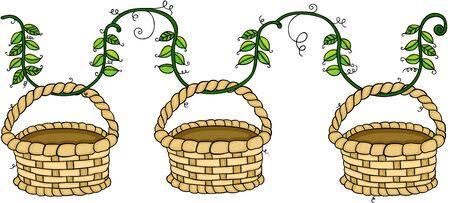 Empty wicker baskets hanging on branch leaves Çizim