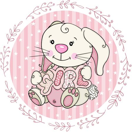Baby girl round label with cute bunny