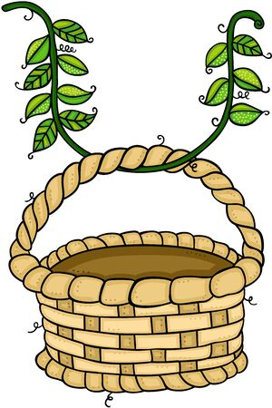 Leaves branch with empty basket